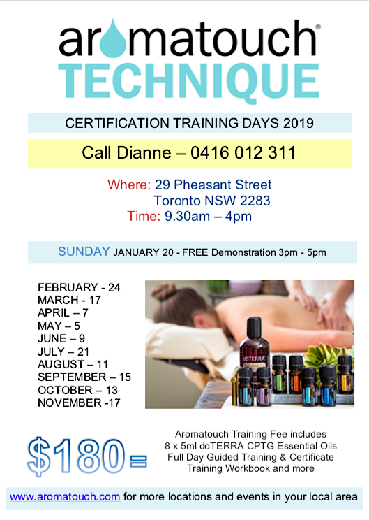 free doterra aromatouch demonstration plus doterra aromatouch certification training 2019 newcastle NSW lake macquarie
